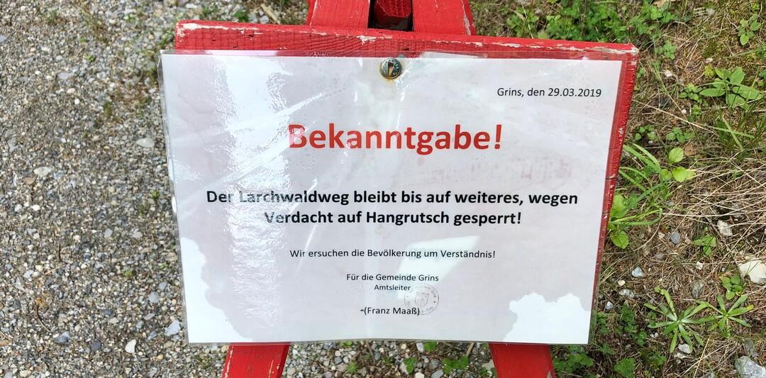 Info zum Hangrutsch bei GrinsGrins